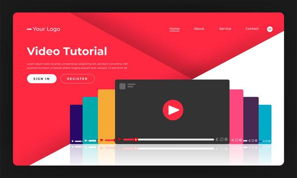 Mock-up design website flat design concept video tutorial.  Vector illustration.