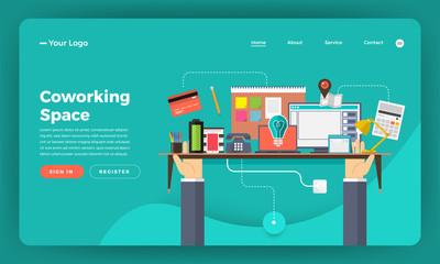 Mock-up design website flat design concept digital marketing. Coworking space center.  Vector illustration.