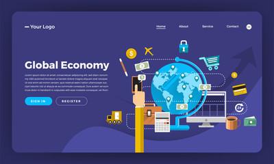 Mock-up design website flat design concept digital marketing. Global Economy.  Vector illustration.