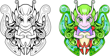 cartoon cute tooth fairy, funny illustration, coloring book