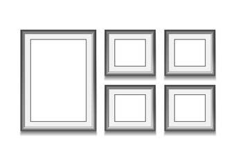 Set of black frame on white background. Vector illustration. Tem