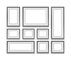 Set of black frame on white background. Vector illustration. Tem