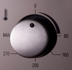 thermostat and handles on a modern microwave, close-up. kitchen equipment
