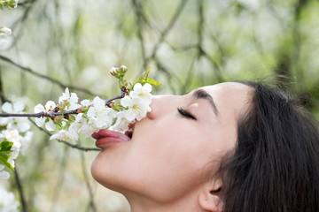 Sensual woman strolling in blooming park or garden, spring concept. Sexy brunette licking cherry blossom. Side view portrait of beautiful girl with stick out tongue