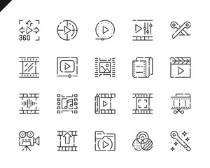Simple Set Video Editing Line Icons for Website and Mobile Apps.