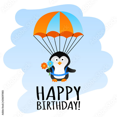 Cute Happy Birthday Card With Funny Parachute Penguin Stock Photo
