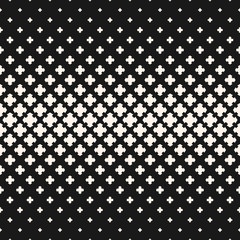 Vector halftone texture, monochrome seamless pattern with crosses