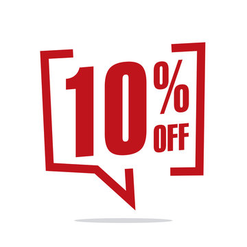 10 percent off sale white red isolated sticker icon