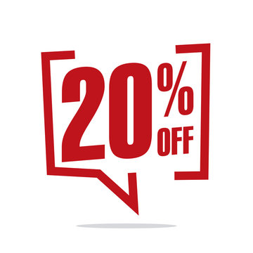 20 percent off sale white red isolated sticker icon