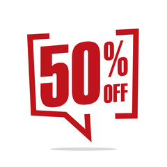 50 percent off sale white red isolated sticker icon