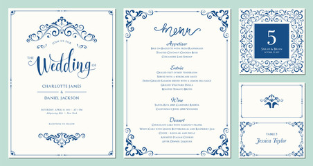 Ornate wedding invitation, table number, menu and place card. Swirl floral templates. Classic vintage design.
