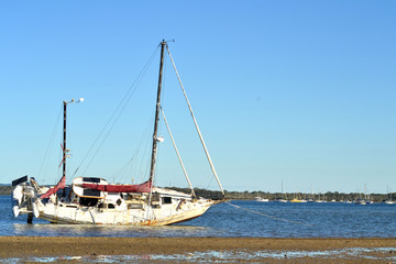 Abandoned Sailing Boat Tin Can Bay Australia