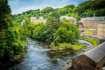 View of New Lanark Heritage Site, Lanarkshire in Scotland, United Kingdom