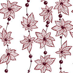 Seamless pattern vector for wallpaper and fabric textile with abstract herbal pattern of shapes of flowers and leaves with brads and lines