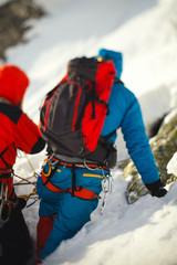 Gear and equipment climbers closeup.  Tilt-shift effect.