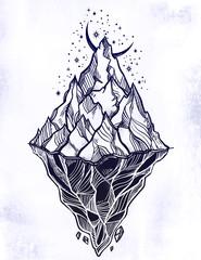 Hand drawn beautiful iceberg, sky with crescent moon. Glacier design.