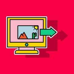 Sticker Photos icon on laptop screen. Multimedia, sharing images, digital photo album app concepts. Creative vector illustration