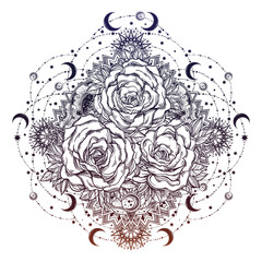 Rose flowers in mandala of moons, beads and stars.