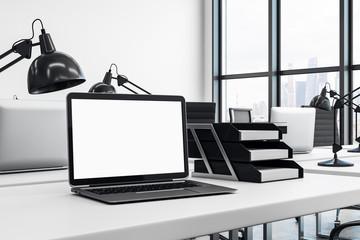 White notebook on office desk