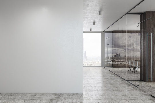 Concrete glass corridor with copyspace