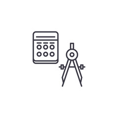 Geometry linear icon concept. Geometry line vector sign, symbol, illustration.