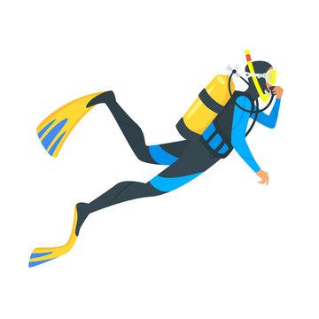 scuba diver on white background