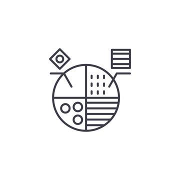 Marketing segmentation linear icon concept. Marketing segmentation line vector sign, symbol, illustration.