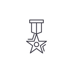 Medal of achievement linear icon concept. Medal of achievement line vector sign, symbol, illustration.