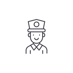 Policeman linear icon concept. Policeman line vector sign, symbol, illustration.