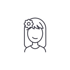 Relaxing woman face linear icon concept. Relaxing woman face line vector sign, symbol, illustration.