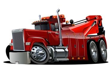 Cartoon big rig tow truck