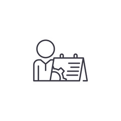 Scheduling linear icon concept. Scheduling line vector sign, symbol, illustration.
