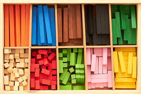 Wood Montessori material for math Cuisenaire rods