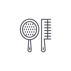 Spa combs linear icon concept. Spa combs line vector sign, symbol, illustration.