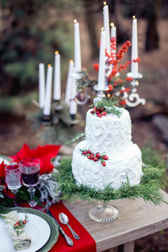 wedding birthday cake white in the forest on the ground in the sunlight with candles in the nature
