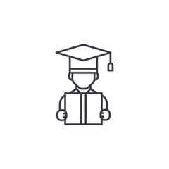 University graduate linear icon concept. University graduate line vector sign, symbol, illustration.