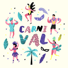 Carnival Doodle with Dancing Character People. Masqeurade Party Elements with Masks and Festive Symbols. Vector illustration