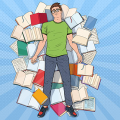 Pop Art Exhausted Student Lying on the Floor among Books. Overworked Young Man Preparing for Exams. Education Concept. Vector illustration