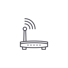 Wi-Fi router linear icon concept. Wi-Fi router line vector sign, symbol, illustration.