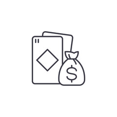 Win at cards linear icon concept. Win at cards line vector sign, symbol, illustration.