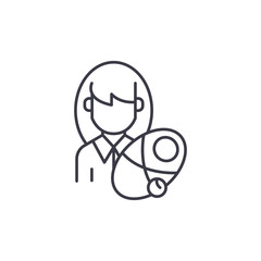 Woman newborn linear icon concept. Woman newborn line vector sign, symbol, illustration.
