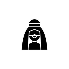 Arab man black icon concept. Arab man flat  vector symbol, sign, illustration.