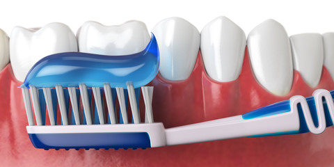 Human teeth and toothbrush with toothpaste. Oral hygiene concept.