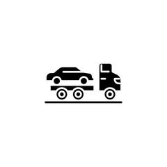 Car carrier black icon concept. Car carrier flat  vector symbol, sign, illustration.