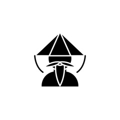 Chinese monk black icon concept. Chinese monk flat  vector symbol, sign, illustration.