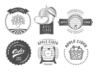 Vector cider labels and logos. Set of vintage badges for apple cider drink.
