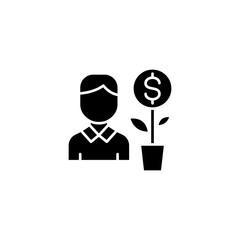 Investor black icon concept. Investor flat  vector symbol, sign, illustration.