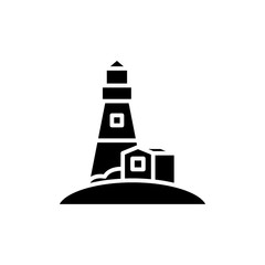 Lighthouse black icon concept. Lighthouse flat  vector symbol, sign, illustration.