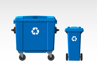 Set of recycle bins isolated on white background. Flat style. Vector.