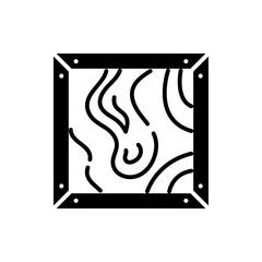 Macro shooting painting black icon concept. Macro shooting painting flat  vector symbol, sign, illustration.